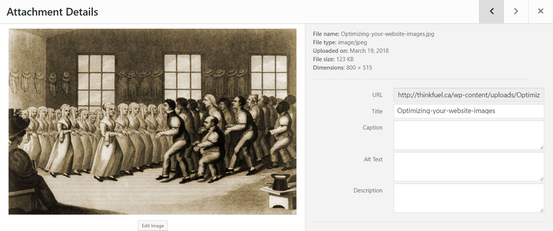 An example of a wordpress image with the default title