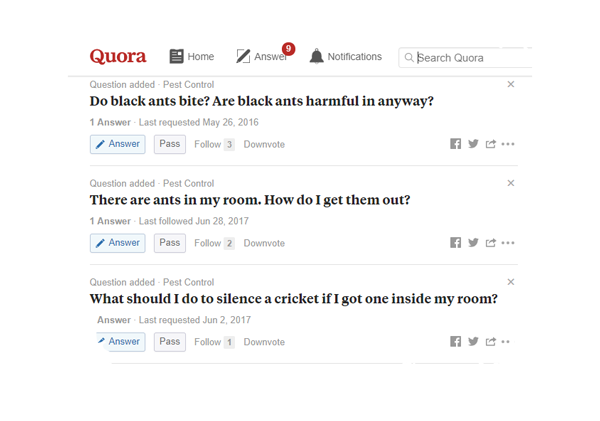 example of using quora to find content to write great blog posts