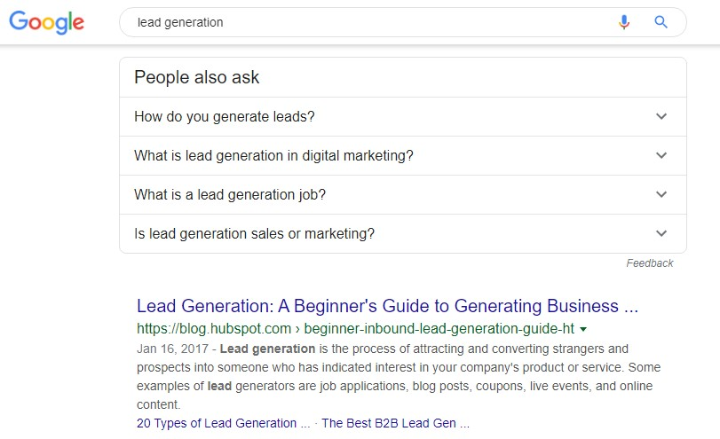 Lead Generation Google Search