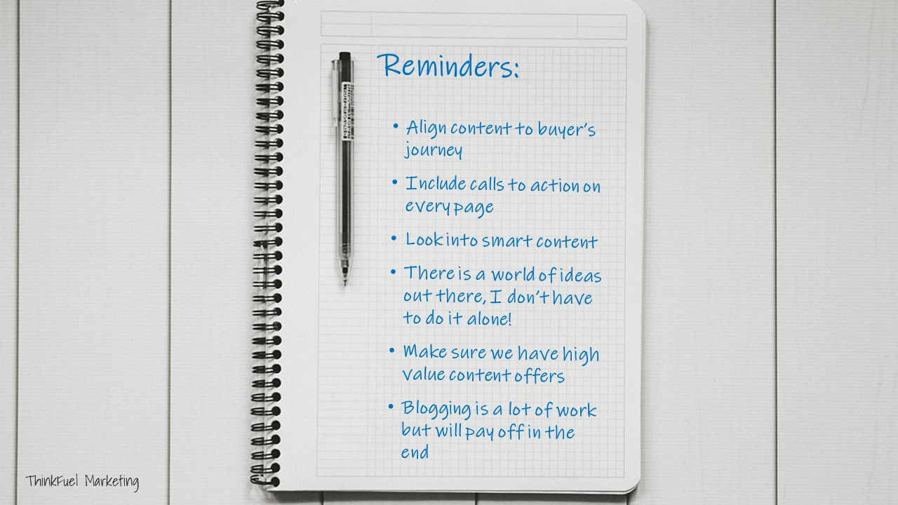 Content marketing reminders