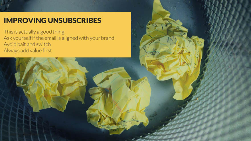 Improve email marketing unsubscribe rate