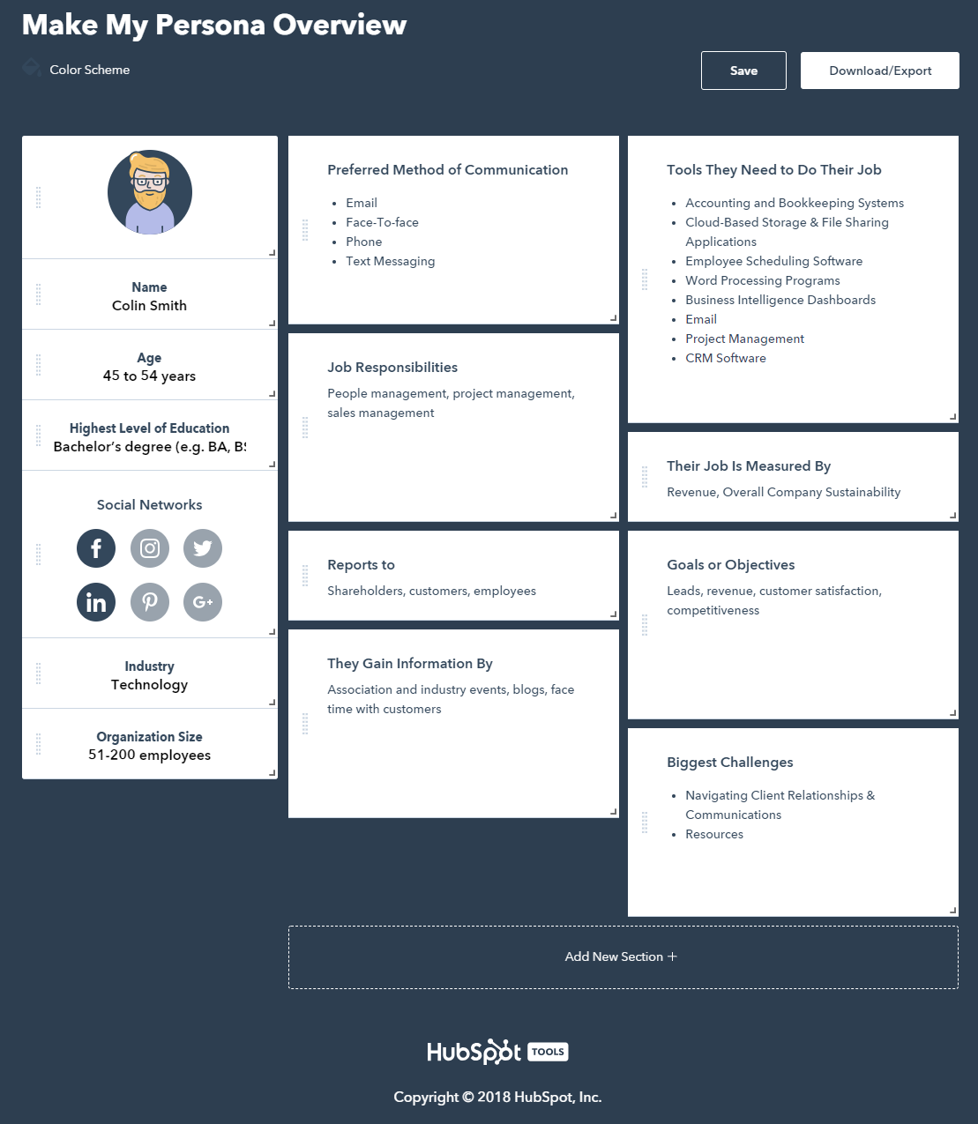 interactive content buyer persona tool